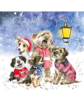 Wrendale Dog Christmas Carollers Christmas Cards