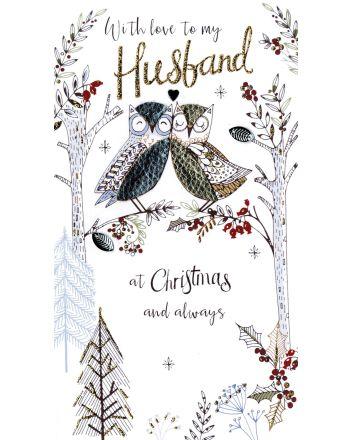 Second Nature Husband Owls Christmas Card