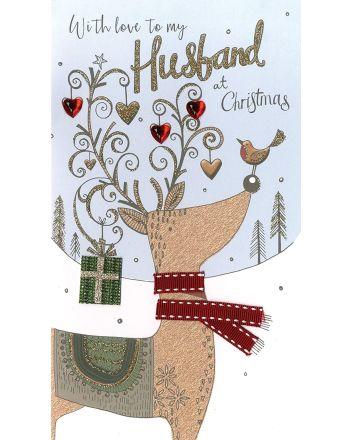Second Nature Husband Reindeer Christmas Card
