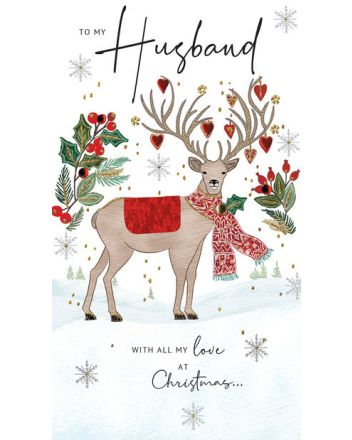 Second Nature Husband Stag Christmas Card