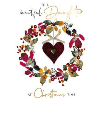 Second Nature Daughter Felt Heart Christmas Card