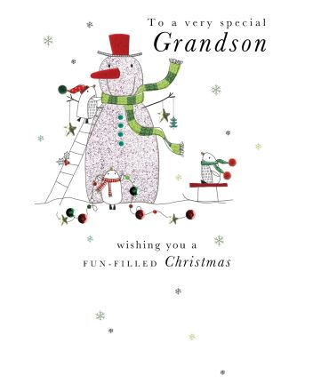 Second Nature Grandson Snowman Christmas Card