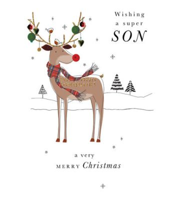 Second Nature Super Son Reindeer Christmas Card