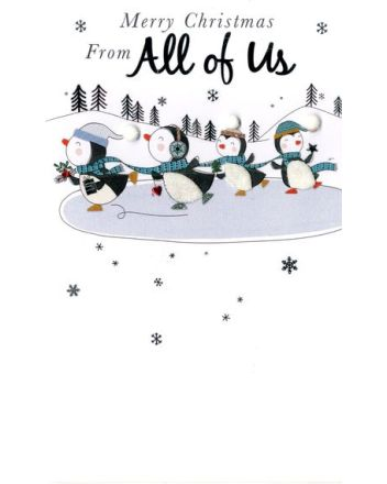 Second Nature All of Us Penguins Christmas Card