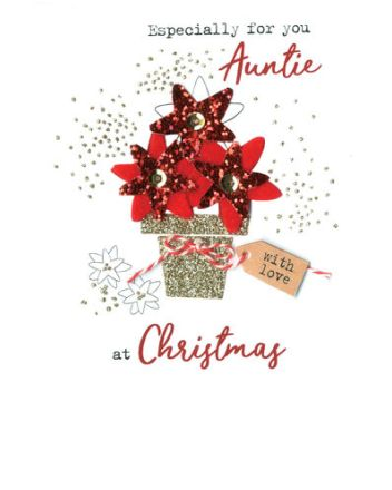 Second Nature Auntie Poinsettia Christmas Card