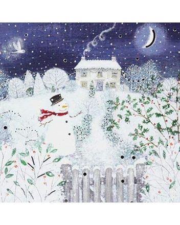 Paperlink 6 Snowman Winter Cottage Charity Christmas Cards