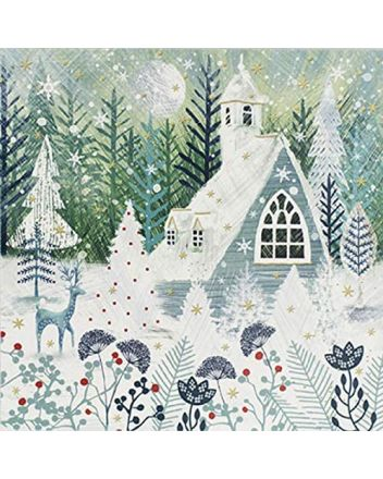 Paperlink 6 Snowy Church Charity Christmas Cards