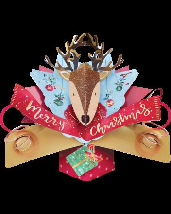 Second Nature Reindeer Head Pop Up Christmas Card