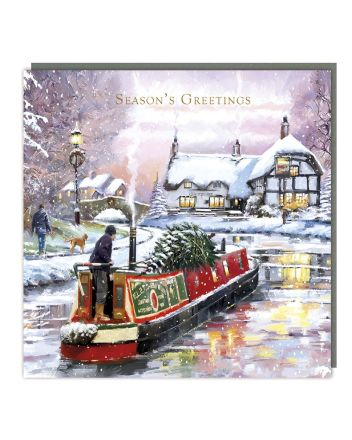 Tracks 5 Winter Canal Christmas Cards