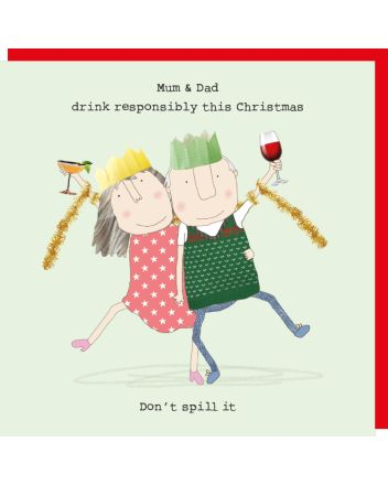 Rosie Made a Thing Mum and Dad Drink Responsibly Christmas Card
