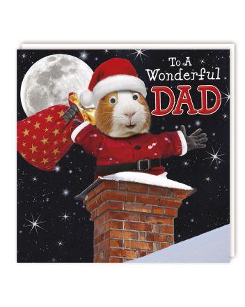 Tracks Santa Guinea Pig Dad Christmas Card