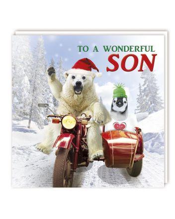 Tracks Gogglies Motorbike Son Christmas Card