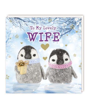 Tracks Fluffy Penguins Wife Christmas Card