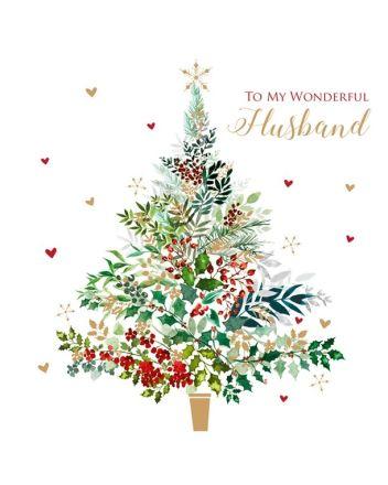 Tracks Husband Christmas Tree Card