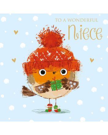 Tracks Niece Robin in Bobble Hat Christmas Card