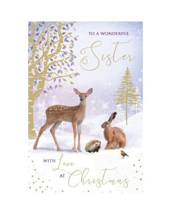Tracks Sister Woodland Animals Christmas Card